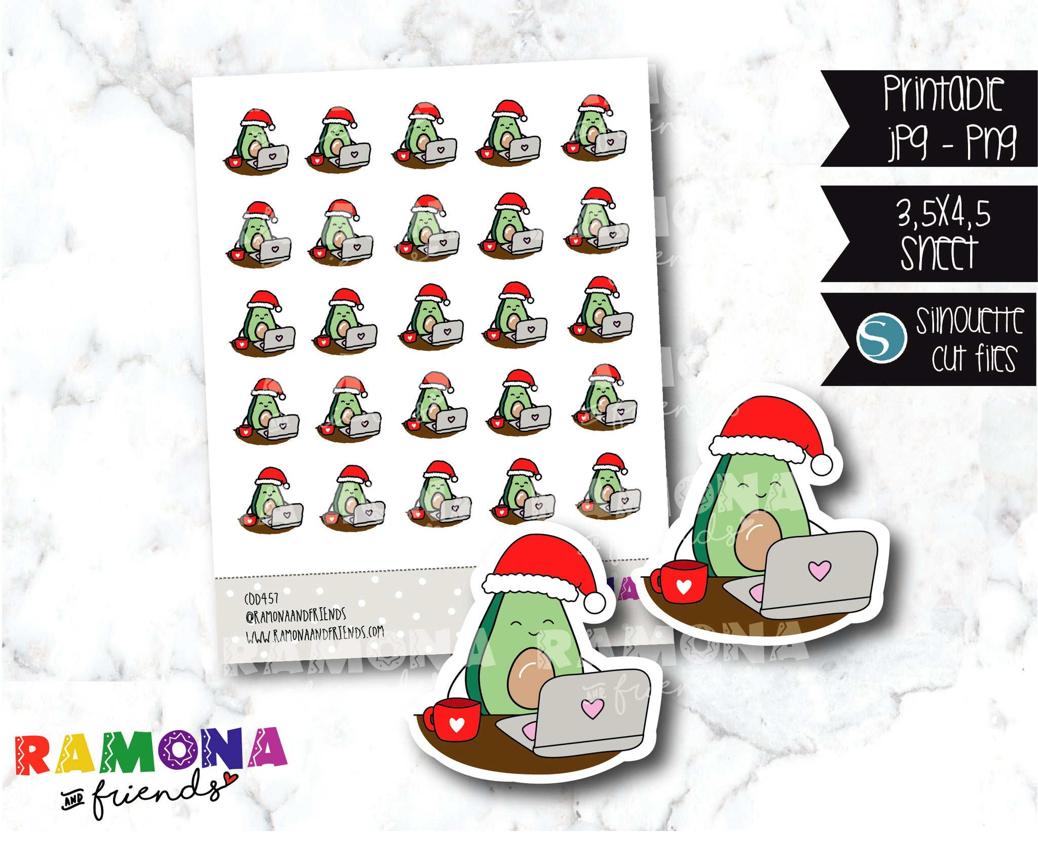 COD457- Christmas Avocado Planner stickers