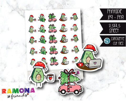 COD458- Christmas Avocado Planner stickers