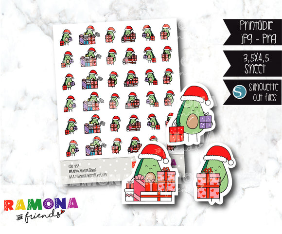 COD459- Christmas Avocado Planner stickers