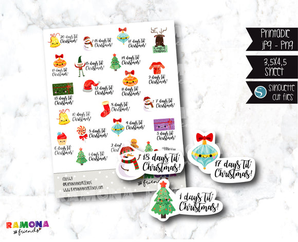 COD563-Christmas countdown stickers