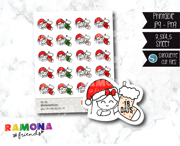 COD585-Christmas countdown stickers