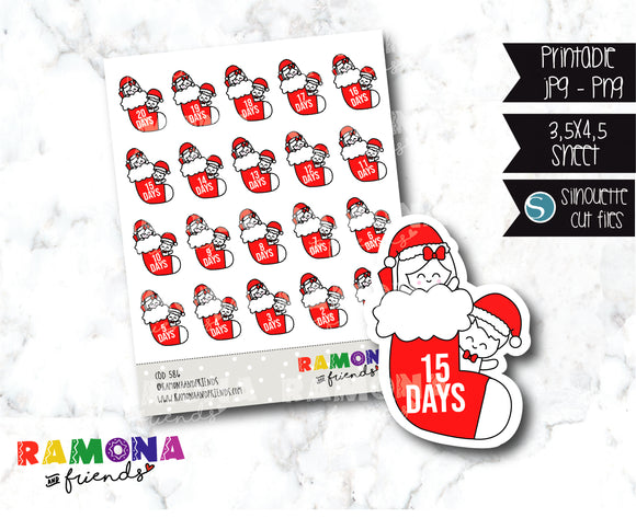 COD586-Christmas countdown stickers