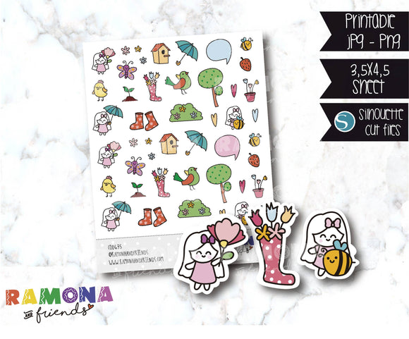 COD635- Spring stickers / Flowers stickers