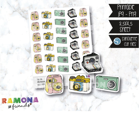 COD704-Camara stickers / Travel stickers / picture time