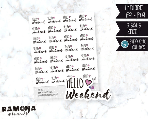 COD783-Hello weekend stickers