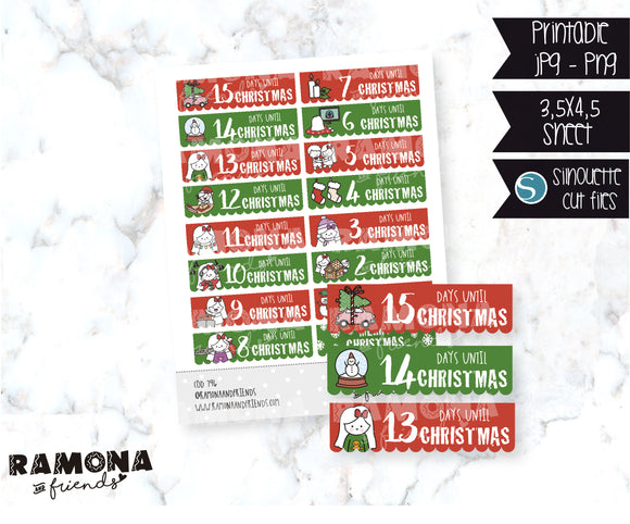 COD796-Christmas countdown stickers