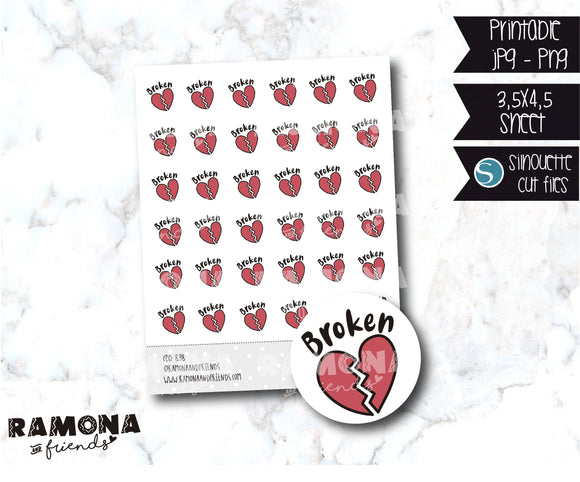 COD838-Broke stickers/Love stickers/heart stickers
