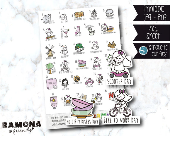 COD877-May Wacky Holidays Planner stickers