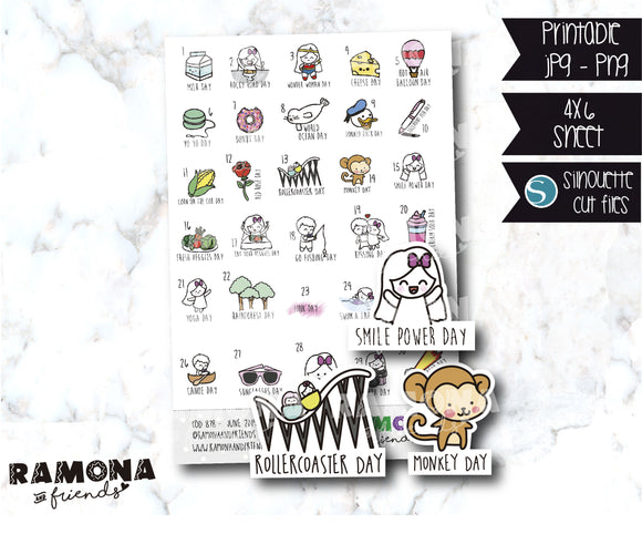 COD878-June Wacky Holidays Planner stickers