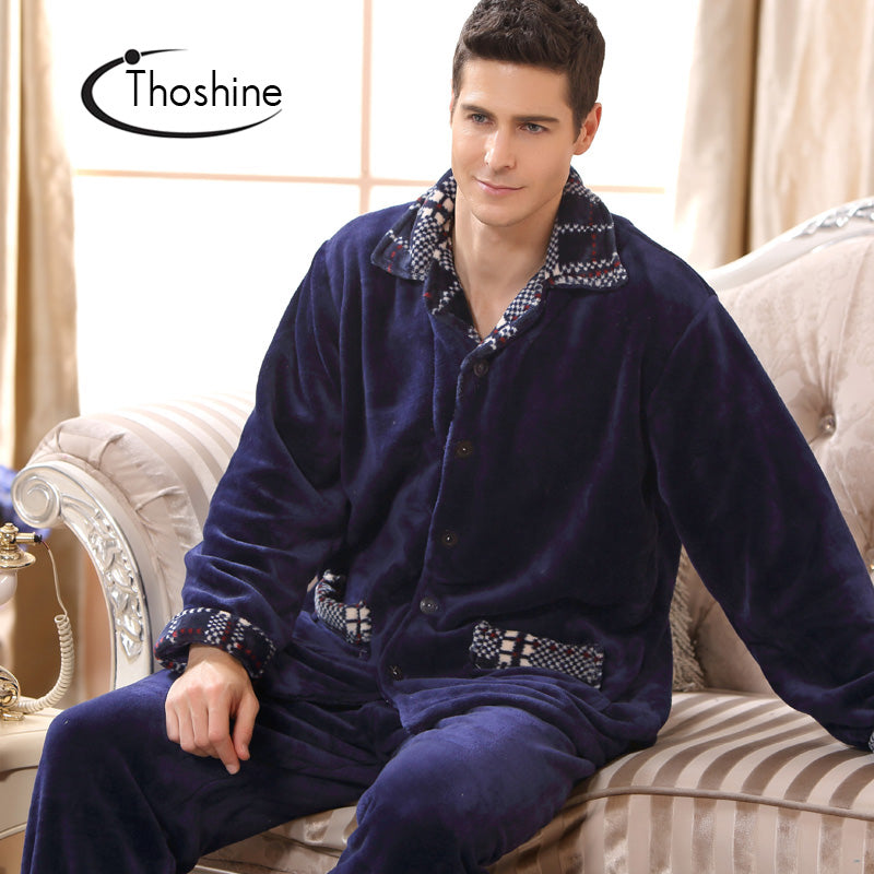 0615d33d41 2017 Winter Spring Thick Coral Fleece Men Warm Pajamas Sets of Sleep Tops    Shorts Flannel