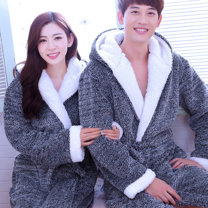 Pijama Hombre Kimono Albornoz Hombre Couples Thick Flannel Men And Women  Coral Leisure Wear Bathrobe Fall c50ac4e29