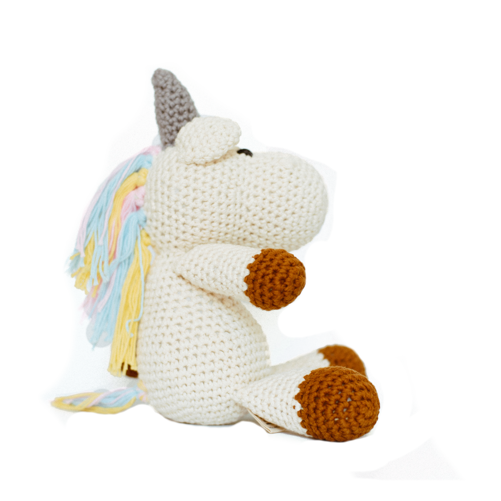 Rainbow unicorn knitted toy