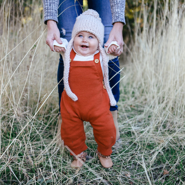 Knitted Overalls - Pumpkin