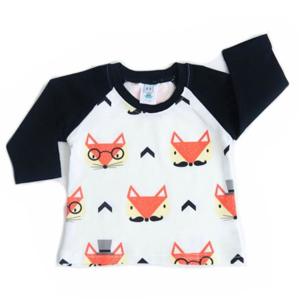 Raglan Long Sleeve Tee in Hipster Foxes