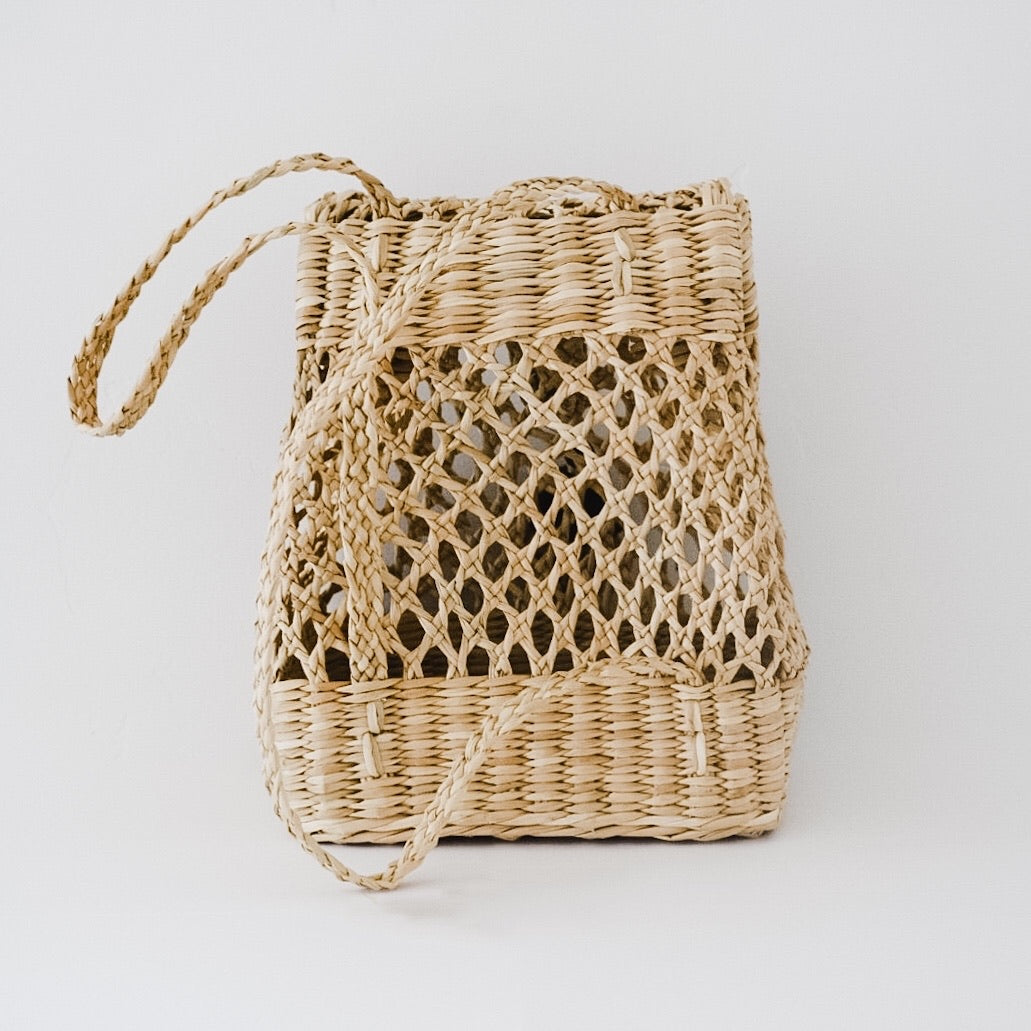 Mini Kiara straw backpack