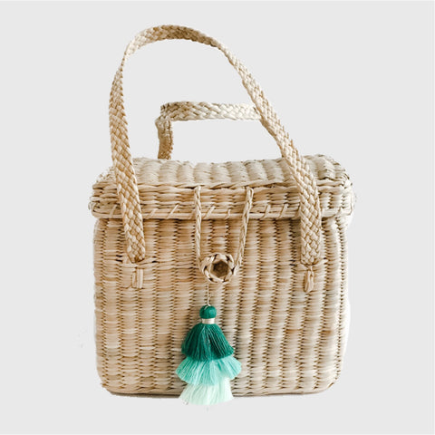 Small crossbody straw bag