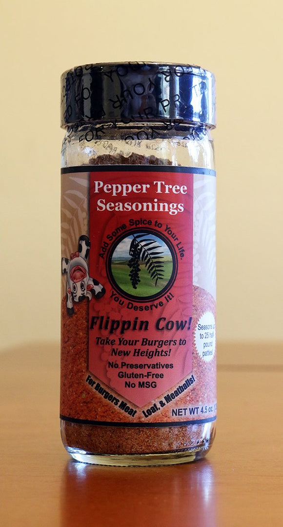 Flippin Cow Hamburger Seasoning In Glass Bottle