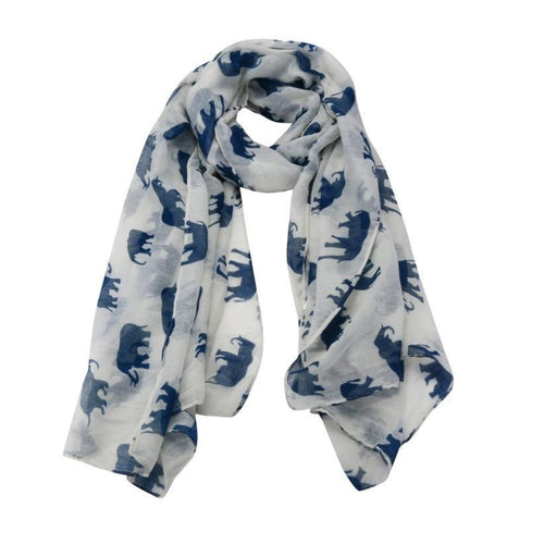 Womens Long Cute Elephant Print Scarf