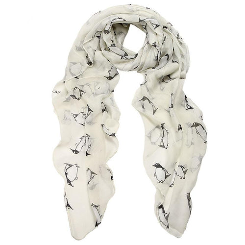 Womens Lady Penguin Print Scarf