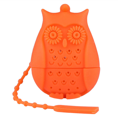Cute Silicone Owl Shape Tea Infuser Strainer Filter with Long Strap for Home Office Use Decoration