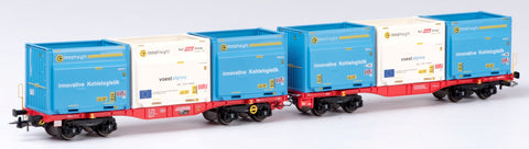 B-Models 90109  2 Car Innofreight set , with 6 containers from Rail Cargo Group - The Scuderia 46