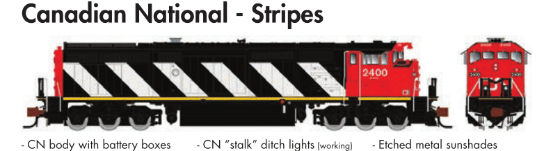 Rapido Trains GE Dash 8-40CM Canadian National - Stripes - The Scuderia 46