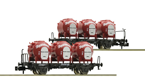 "Fleischmann 823302  2 piece set container carrier wagons ""Resi-Schmelz"", DB"
