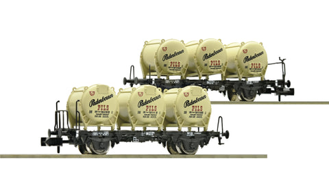 "Fleischmann 823304  2 piece set container carrier wagons ""Paderborner Pils"", DB"