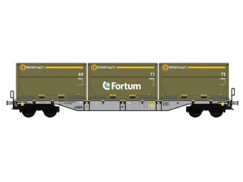 "B-Models 90802.3  Innofreight Container Wagon D-AAEC Sgns ""FORTUM"" - The Scuderia 46"
