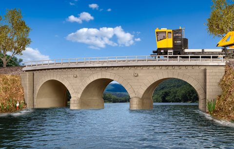 Kibri 9642  Stone arch bridge with ice breaking pillars curved, single track - The Scuderia 46
