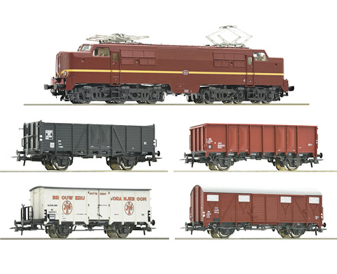 Roco 61459  5 piece set: Electric locomotive 1224 with freight train, NS (DCC w/Sound)