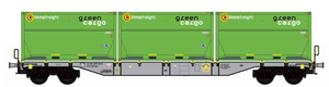 "B-Models 90803.1  Innofreight Container Wagon ""GREEN CARGO"" - The Scuderia 46"