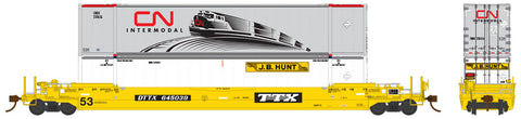 Rapido Trains  DTTX TTX Co. (as delivered) 53′ Husky-Stack Well Car