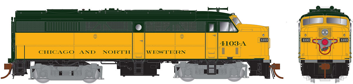 Rapido Trains   Chicago & North Western (yellow/green) Diesel Locomotive Alco FA-2
