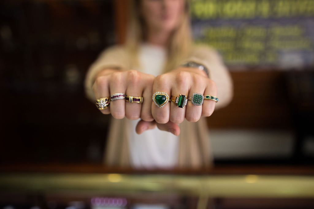 Custom Jewelry Design Emerald Cabachon Yellow Gold Rings