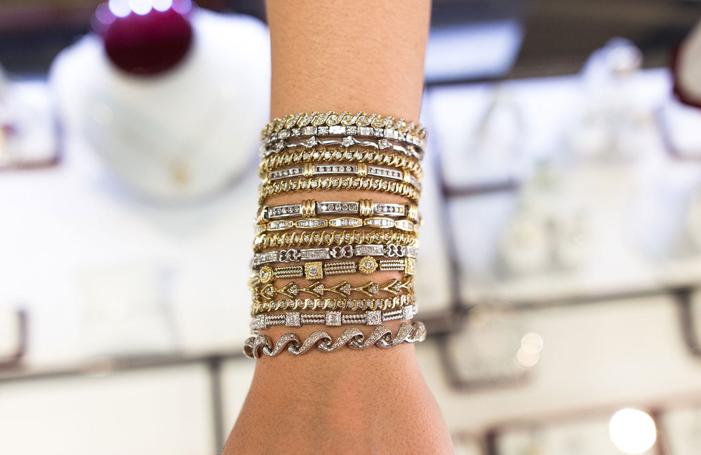 Diamond Tennis Bracelets in Yellow and White Gold