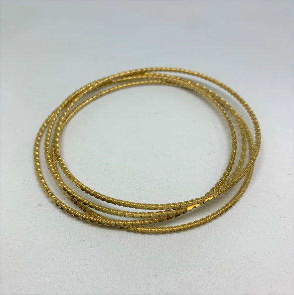 18K Yellow Gold Vintage Persian Bangle Set