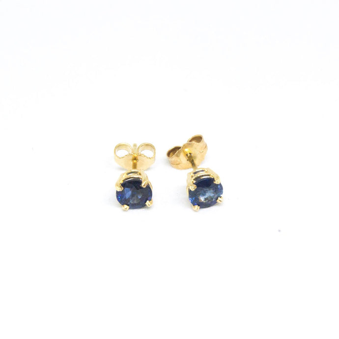 14K Yellow Gold Blue Sapphire Stud Earrings -  - State Street Jewelry and Loan
