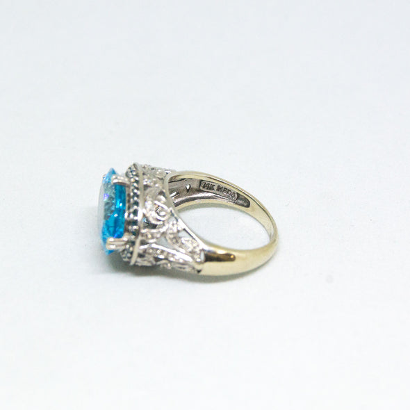 14k White Gold Ring with Oval Cut Blue Topaz and Diamonds -  - State Street Jewelry and Loan
