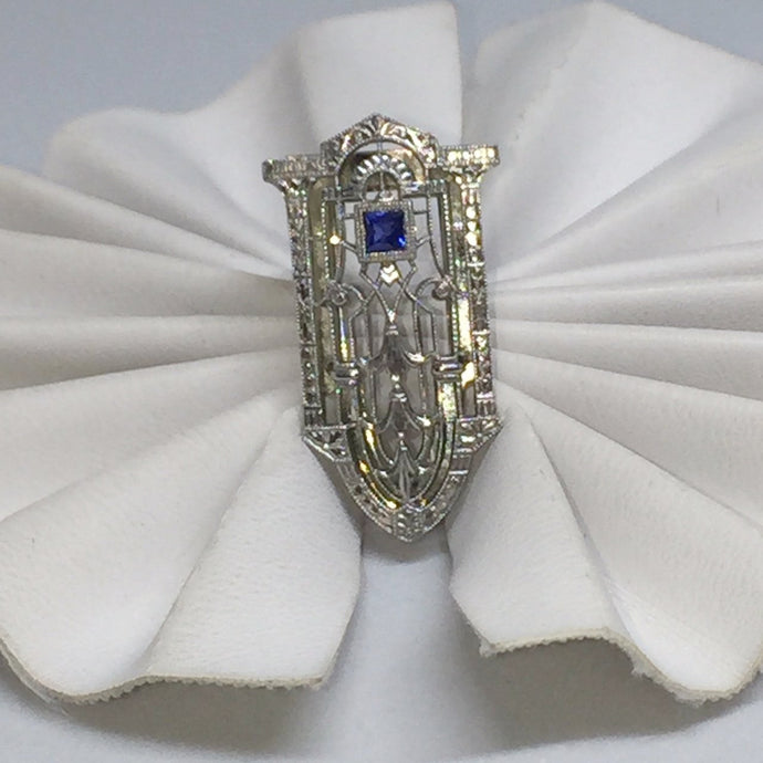 14k White Gold Art Deco Style Clip with Sapphire -  - State Street Jewelry and Loan