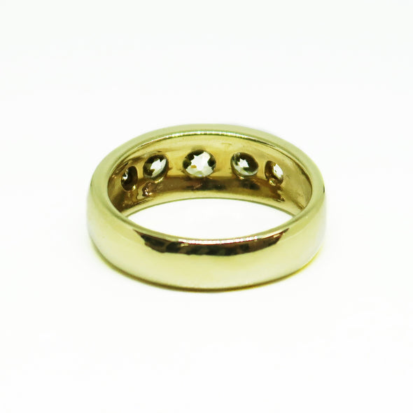 18k Yellow Gold Men's Ring with 1.25ctw Mine Cut Diamonds -  - State Street Jewelry and Loan