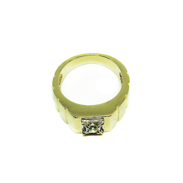 14k Yellow Gold Men's Ring with .20ctw Diamonds -  - State Street Jewelry and Loan