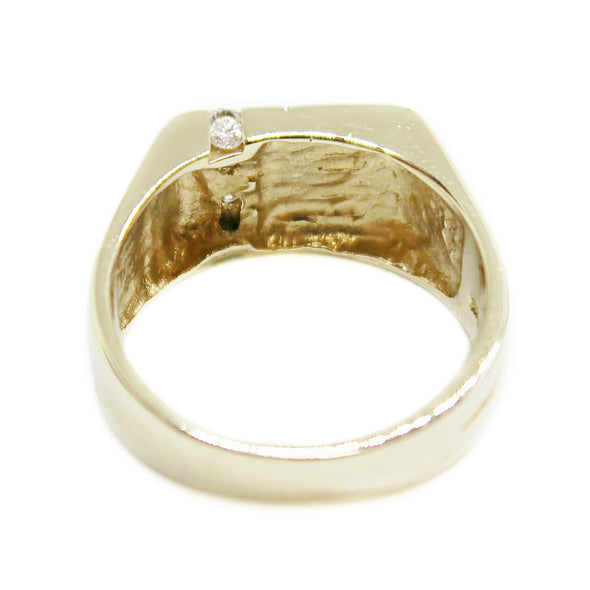 14k Yellow Gold Men's Cigar Ring with .20ctw Diamonds -  - State Street Jewelry and Loan