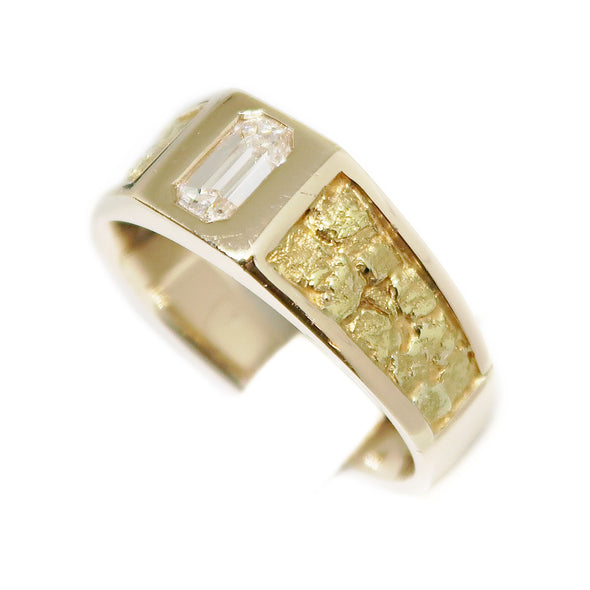 14k Yellow Gold Men's Ring with Emerald Cut Diamond and Nugget Finish -  - State Street Jewelry and Loan