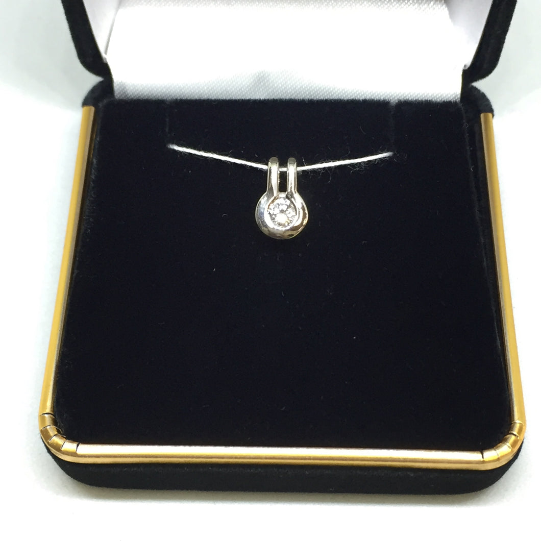 14K White Gold Diamond Solitaire Pendant -  - State Street Jewelry and Loan