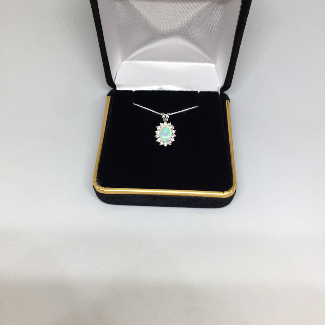 14K White Gold Opal Pendant with Diamonds -  - State Street Jewelry and Loan