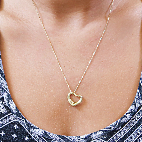 Tiffany & Co. Elsa Peretti Diamonds 18k Yellow Gold Open Heart Pendant -  - State Street Jewelry and Loan