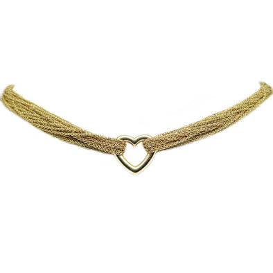 Tiffany & Co Mesh Heart Necklace Multi Chain 18kt Yellow Gold -  - State Street Jewelry and Loan