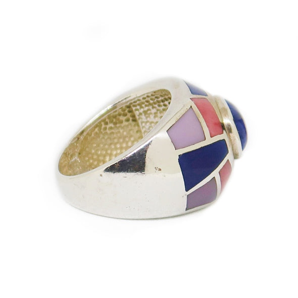 Sterling Silver Ring with Blue and Pink Mosaic -  - State Street Jewelry and Loan