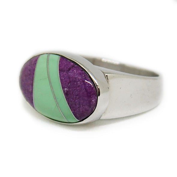Mosaic Purple and Green Sterling Silver Ring -  - State Street Jewelry and Loan